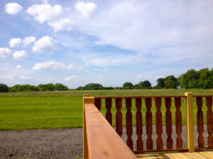 View from wooden decking across golf course