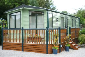 static caravan with decking for sale at hall more, silverdale and arnside