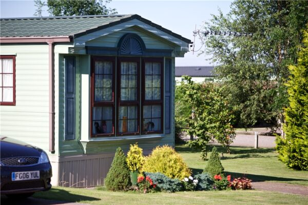 static caravan with front garden at silverhill, lincolnshire