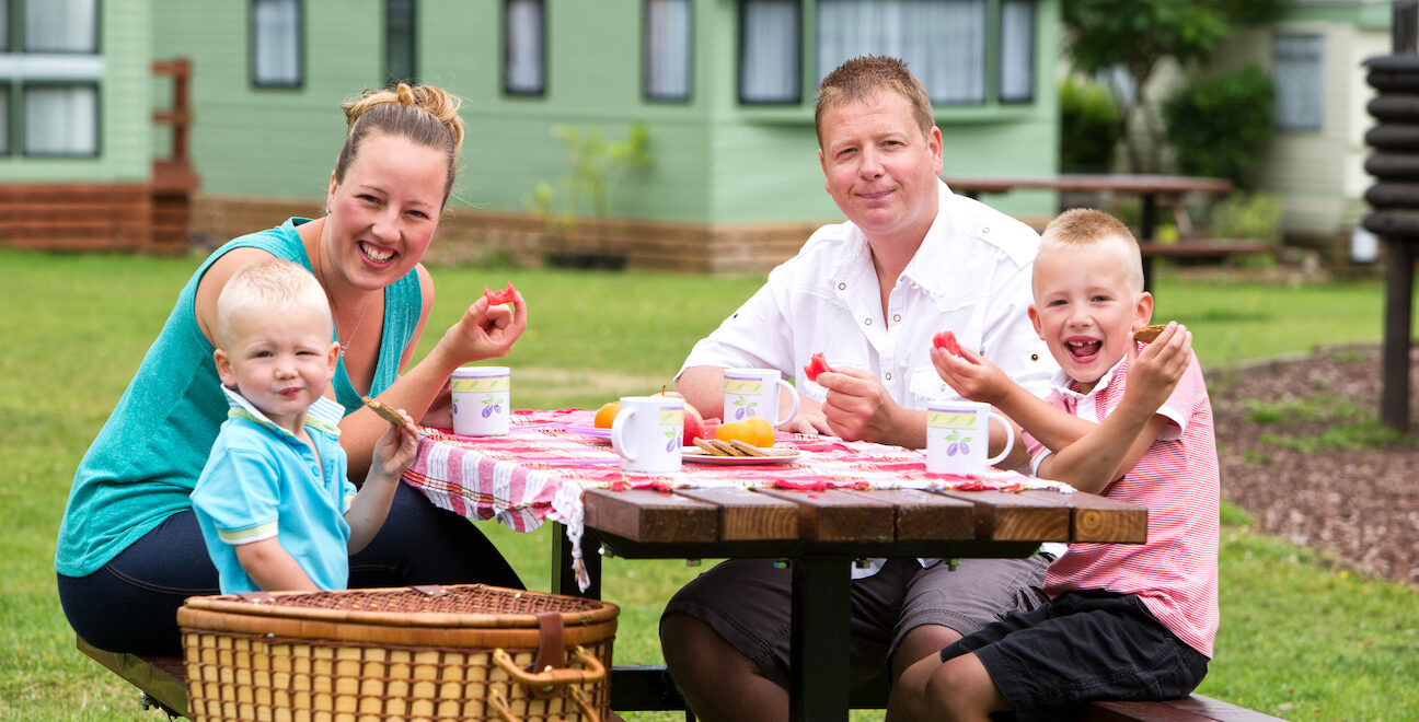 Family picnic at Fell End Holiday Park