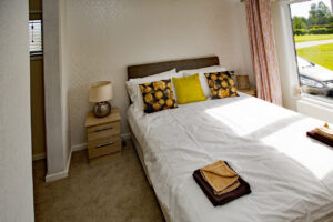 Golf lodge bedroom with double bed, Bridlington