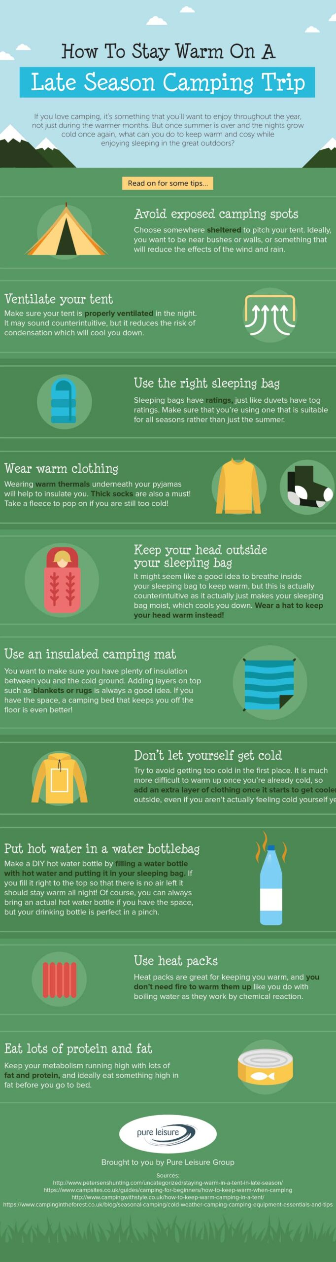 Stay Warm When Camping, an infographic by Pure Leisure