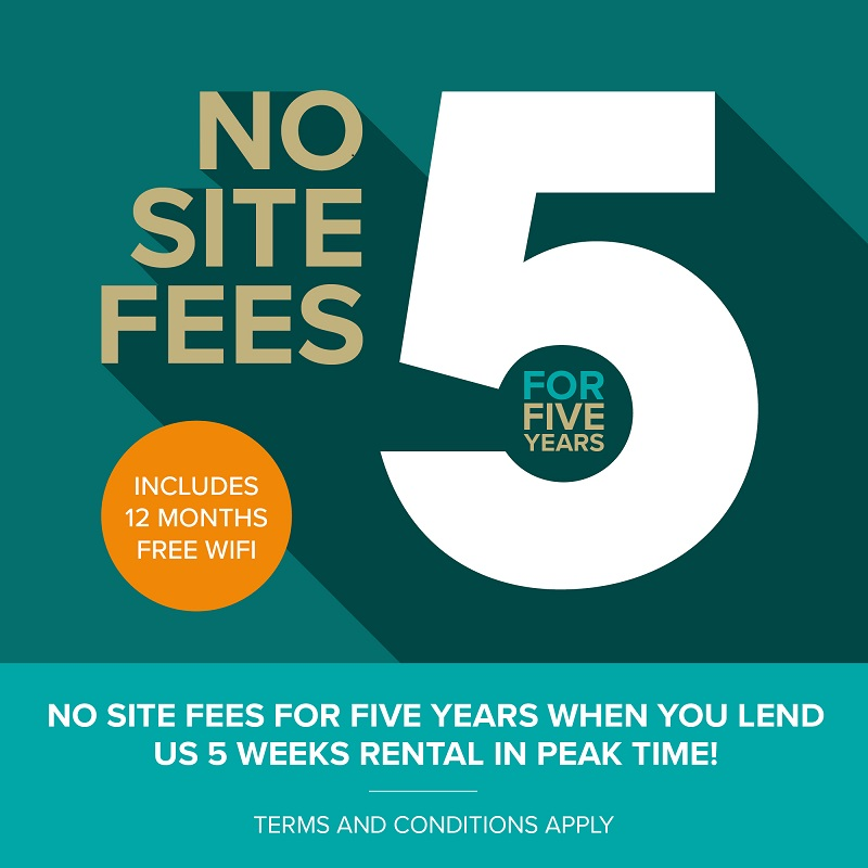 No Site Fees for 5 Years!